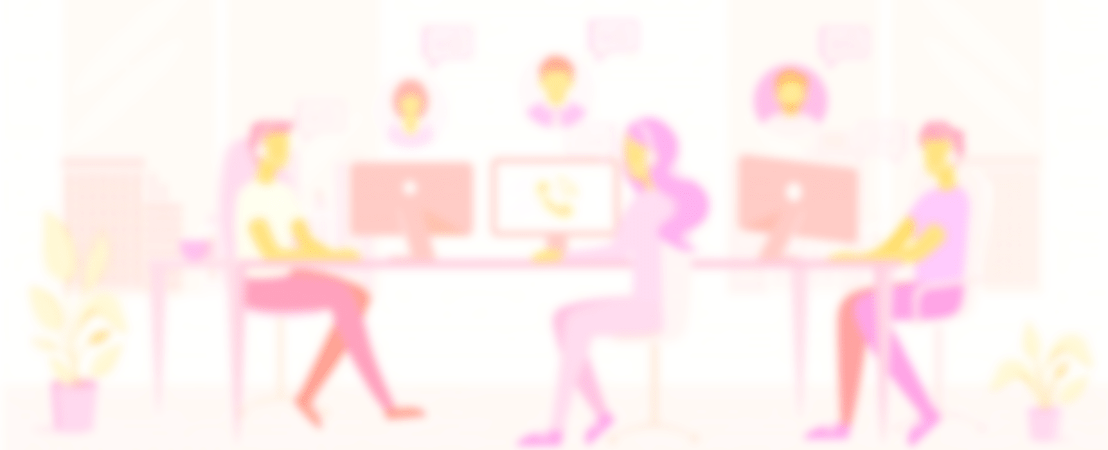 Blurred image of animated employees working together for gaining lead generation for their business work